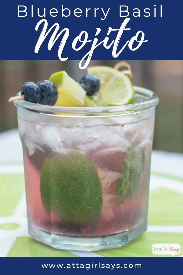 blueberry basil mojito with lime and blueberry garnish