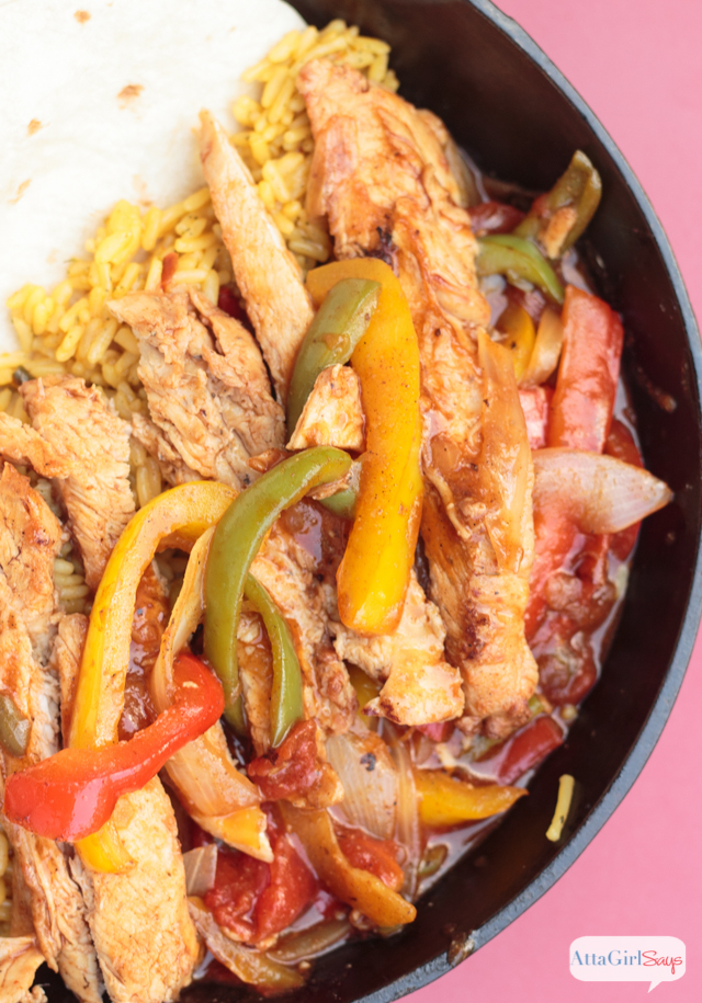 This mostly homemade chicken fajitas recipe tastes as good as what you get from  your favorite Mexican restaurant. But it comes together quickly. Just heat and eat! #ad #TysonProjectAPlus