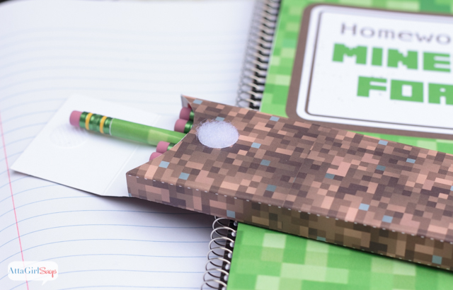 Download these free printable patterns to make your own Minecraft school supplies, including pencil boxes and a cool notebook cover. You'll even learn how to make your own Minecraft pencils. #sponsored #MyGameband #GameontheGo