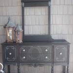 I always worry about painting furniture black because I'm afraid details will get lost. But this vintage buffet is gorgeous. I love the subtle distressing and the white highlights. It really gives new life to a battered, old piece of furniture. #sponsored #decoartprojects #chalkyfinish