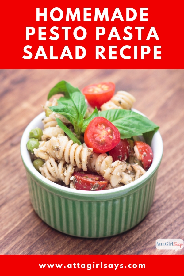 homemade pesto pasta salad with tomatoes, peas and fresh basil
