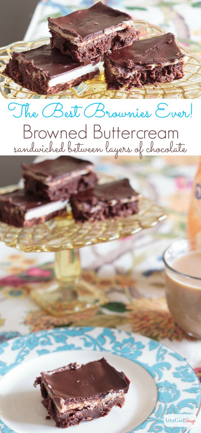 I'm not exaggerating when I say this is the best chocolate brownie recipe I've ever tasted. A layer of browned buttercream frosting sandwiched between two layers of chocolate make these worth the time it takes to make them from scratch. #CreateDelight #IDelight #ad