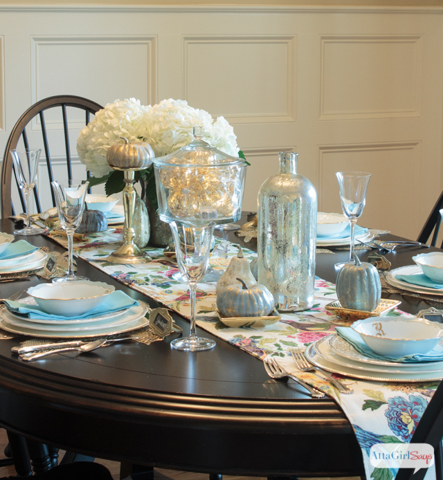Tablescape Ideas decorating with metallics: fall tablescape ideas - atta girl says