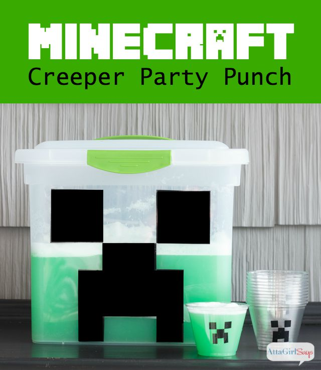 Delight your favorite gamer with this tasty Minecraft creeper party punch. This is one of the easiest party punch recipes, and you can easily change the flavor to fit your party theme.