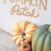 See how 8 bloggers transformed the same wooden pumpkin in very different ways. I love this vintage-look pumpkin patch sign with a crackle finish.