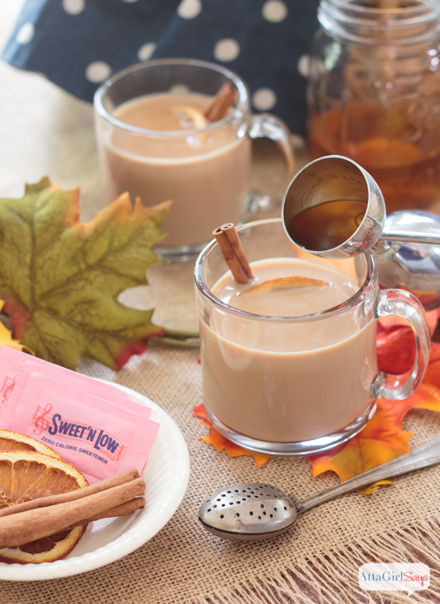 Fill a mug or a Thermos with chai tea latte to knock the chill off on fall days. #ad #donthesitaste