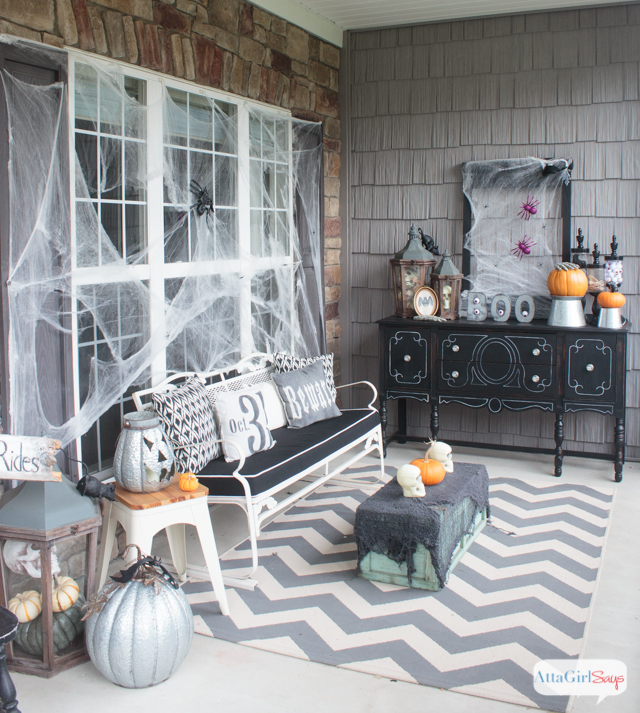 You'll love these scary Halloween decorations. They're spooky but not gory, so they shouldn't scare away young trick or treaters. You'll find a lot of what you need to create this gothic horror novel vibe at the dollar store!