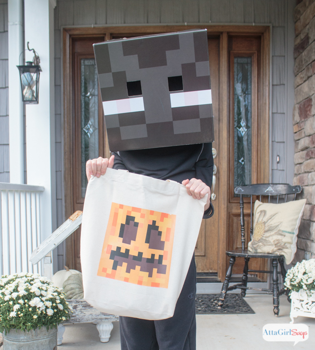 You canu0027t go trick or treating with a plastic pumpkin when youu0027re & DIY Pumpkin Treat Bag u0026 Minecraft Halloween Costume Ideas - Atta ...