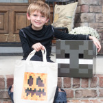 You can't go trick or treating with a plastic pumpkin when you're dressed in a Minecraft Halloween costume. Download this free printable iron-on transfer pattern to make your own Minecraft pumpkin treat bag.