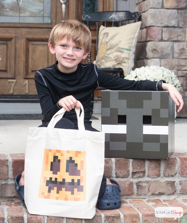 DIY Pumpkin Treat Bag & Minecraft Halloween Costume Ideas