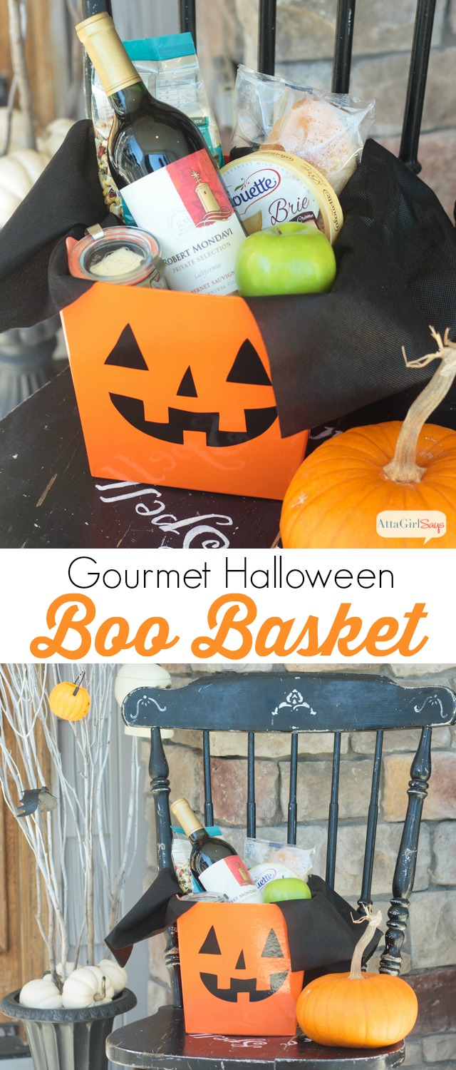 Surprise your neighbors with this gourmet Halloween gift basket on their doorstep. Love this twist & Baked Brie Recipe u0026 Gourmet Halloween Boo Basket - Atta Girl Says pezcame.com