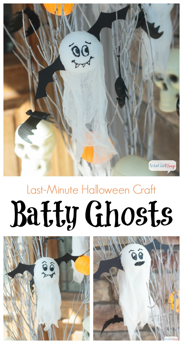 Halloween craft ideas don't get much easier than this! These batty ghosts are quick and easy to make -- and so stinking cute! #MakeItFunCrafts #sponsored