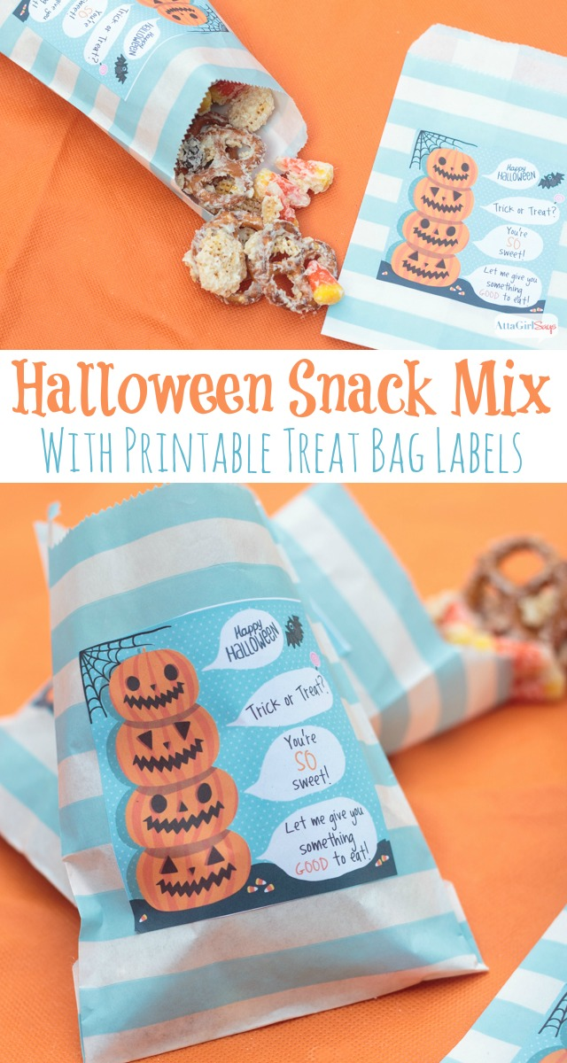 Can't wait to try this sweet Halloween party mix recipe. The printable labels are just the cutest! Instead of candy, you could send Halloween party guests home with some of this snack mix.