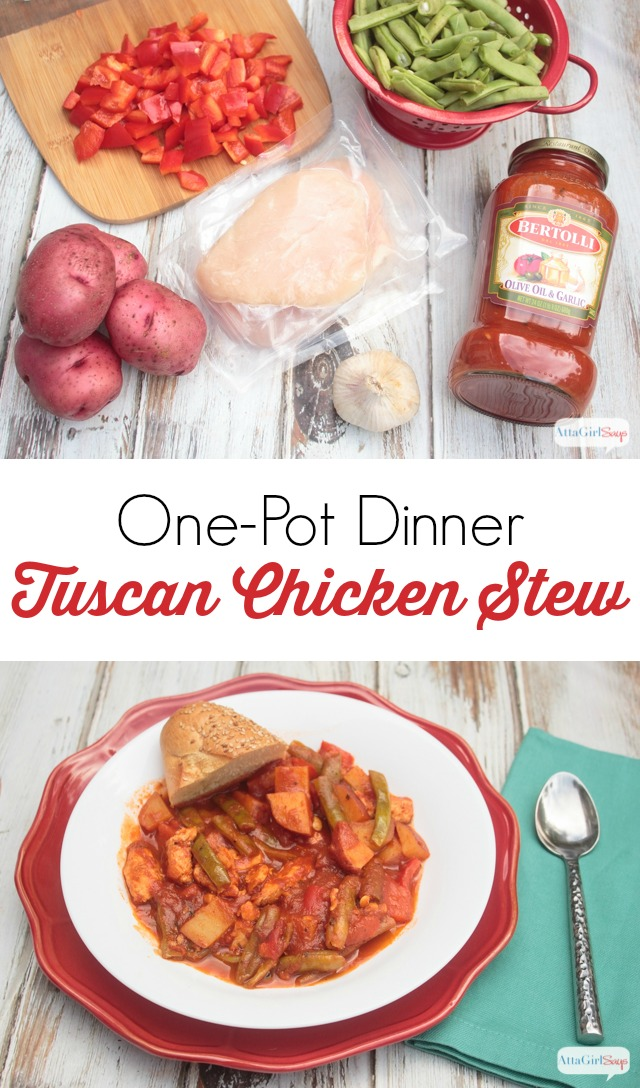 Craving Italian food, but not in the mood for pasta? This tangy Tuscan chicken stew is a hearty one-pot meal. #sponsored