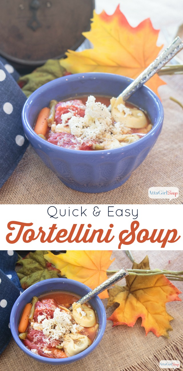 collage photo of a bowl of tortellini vegetable soup on a burlap tablecloth