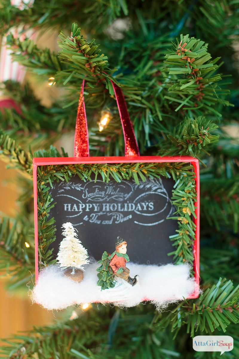 Unique Shadowbox DIY Christmas Ornaments - Atta Girl Says ZI71
