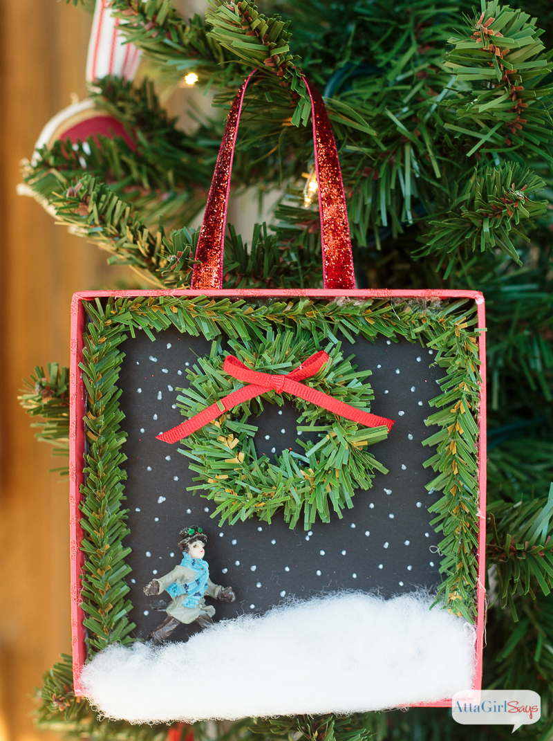 Grab some old jewelry box and some miniatures from the dollar store and make some of these adorable DIY Christmas ornaments. This Christmas ornament craft would be fun to do with a group of friends or with the family. Pottery Barn sells ornaments like these for $16.50 each, but you can make your own for about $1!