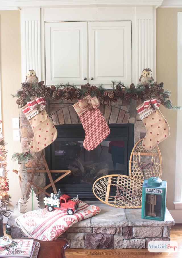 Christmas Mantel Decorations.Vintage Rustic Christmas Mantel Decorations Atta Girl Says