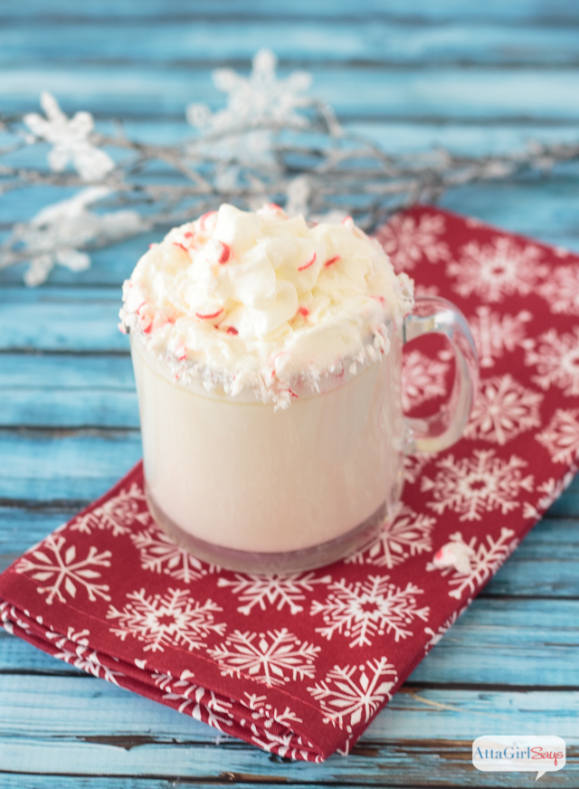 Have you ever tried European sipping chocolate? This white hot chocolate recipe with a peppermint twist is an easy, make-at-home version of the gourmet beverage. #ad #ShareYourDelight #indelight