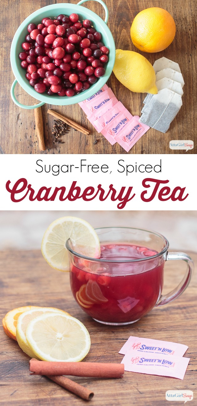 collage photo showing a glass mug of cranberry spiced tea with lemon slices and cinnamon sticks