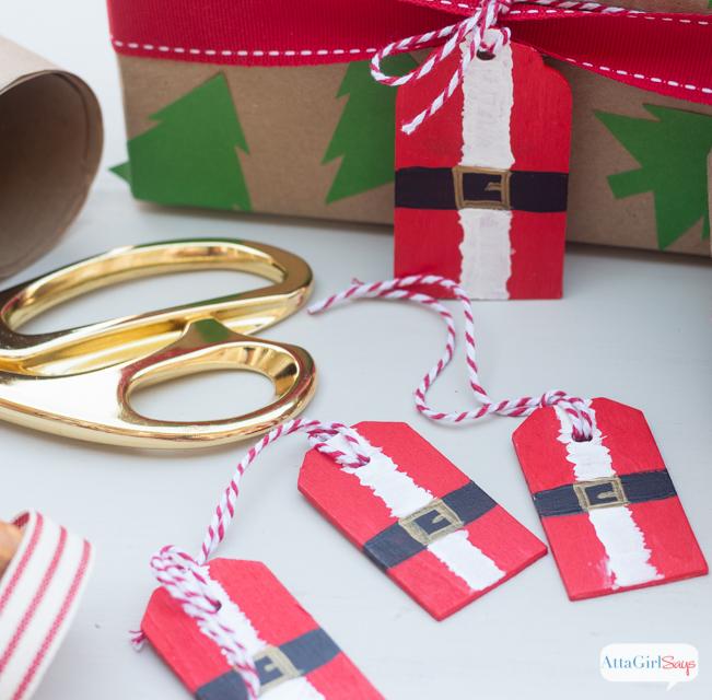 DIY Painted Santa Christmas Gift Tags - Atta Girl Says