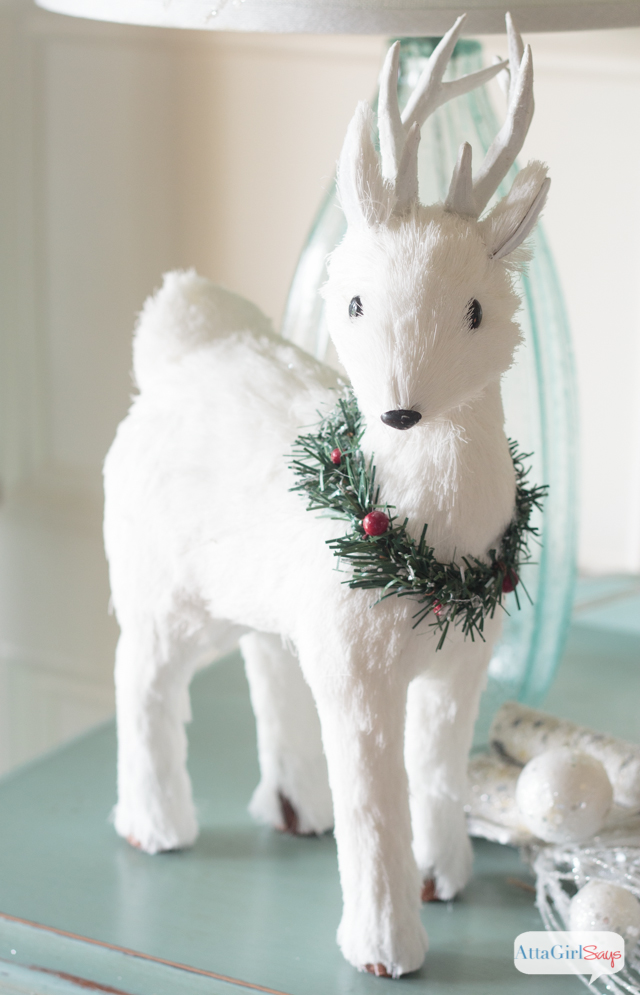 create a winter wonderland using snowy white christmas decorations accented with aqua ad - White Deer Christmas Decoration