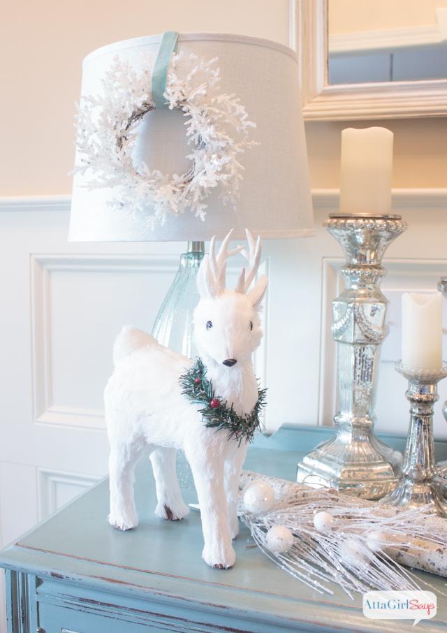 white christmas decorations winter wonderland vignette - White Christmas Decorations
