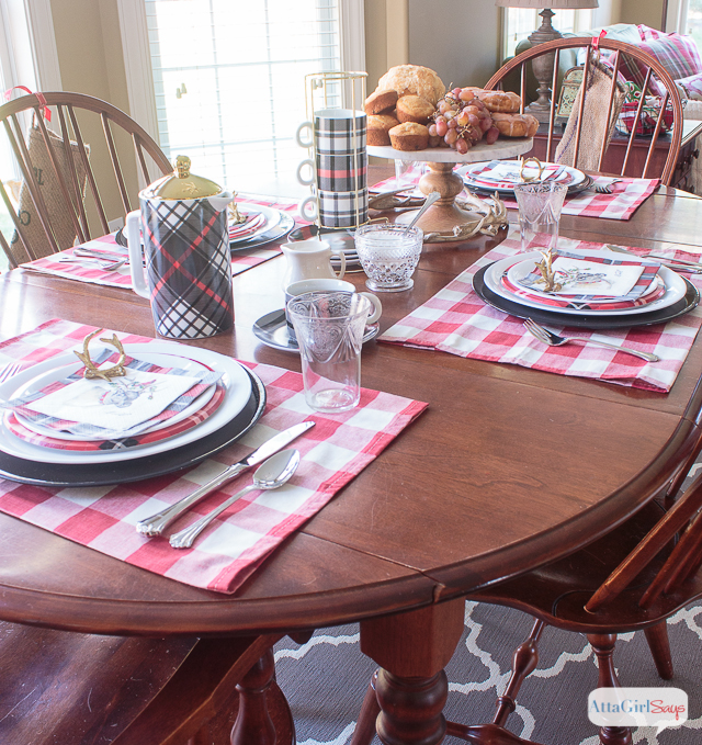kitchen table with Windsor dining chairs set for dinner