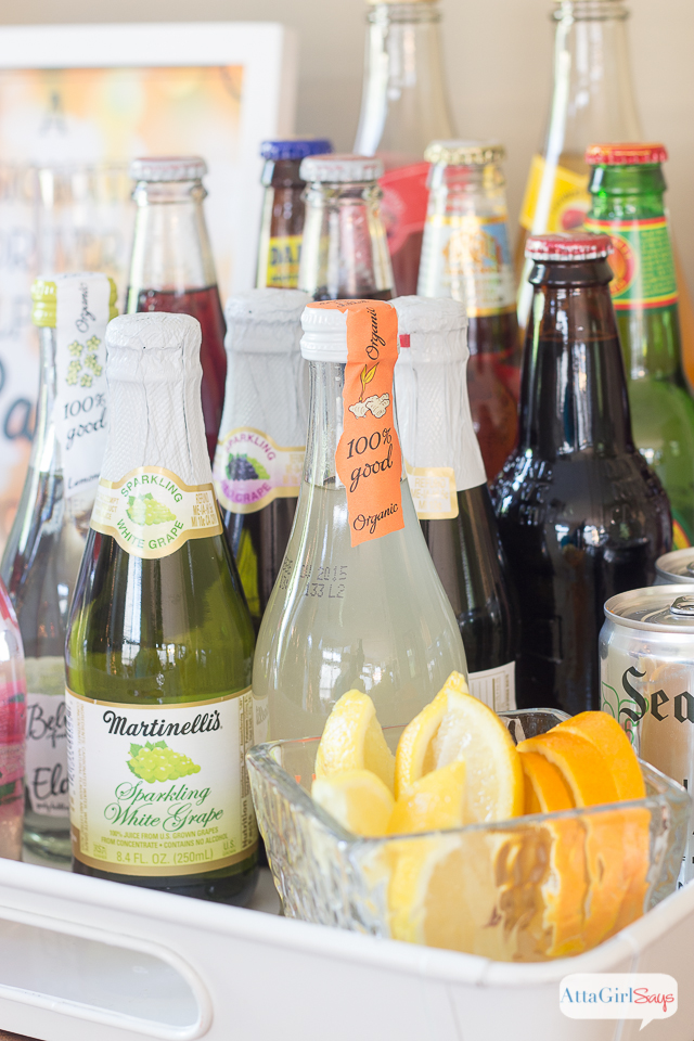 "Treat the designated drivers at your party like VIPs with a special bar filled with festive and fancy non alcoholic drinks. They'll love all these alcoholi-free ""beer"" and ""wine"" options."
