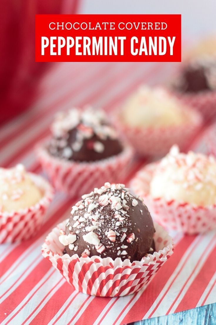 chocolate and white chocolate candies sprinkled with crushed peppermint