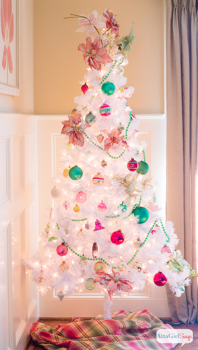 Vintage White Christmas Tree With Shiny Brite Ornaments Atta Girl Says