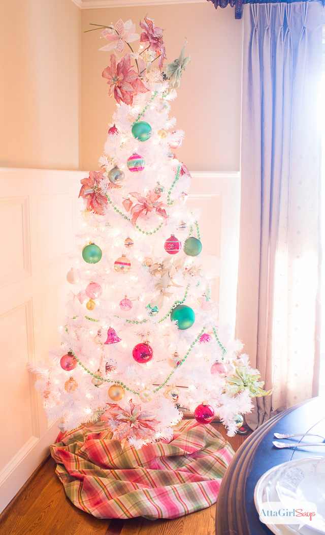 Vintage White Christmas Tree with Shiny-Brite Ornaments - Atta Girl Says
