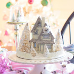 Vintage Inspired White Christmas Tree with Pink and Green Shiny-Brite Ornaments