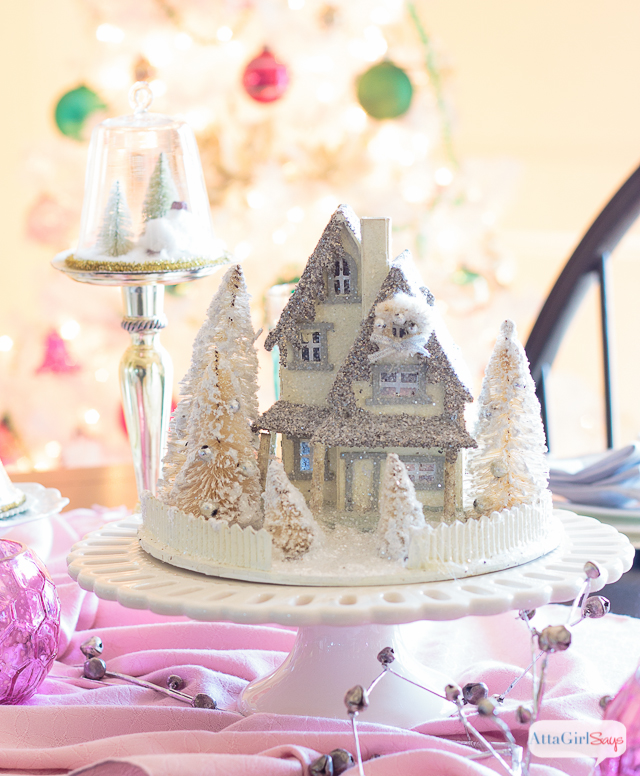 Pink And White Christmas Tree: Vintage White Christmas Tree With Shiny-Brite Ornaments