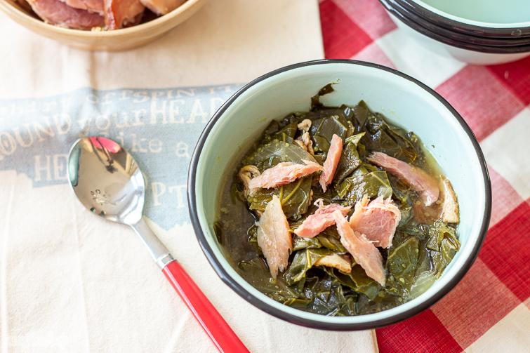 bowl of homemade collard greens with ham