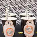 This is the droid you're looking for. These BB-8 party cups are the cutest DIY Star War party supplies. And they're easy enough for a kid to make. Click for a video tutorial and to download the free printable labels. #sponsored #onlinelabelshoa