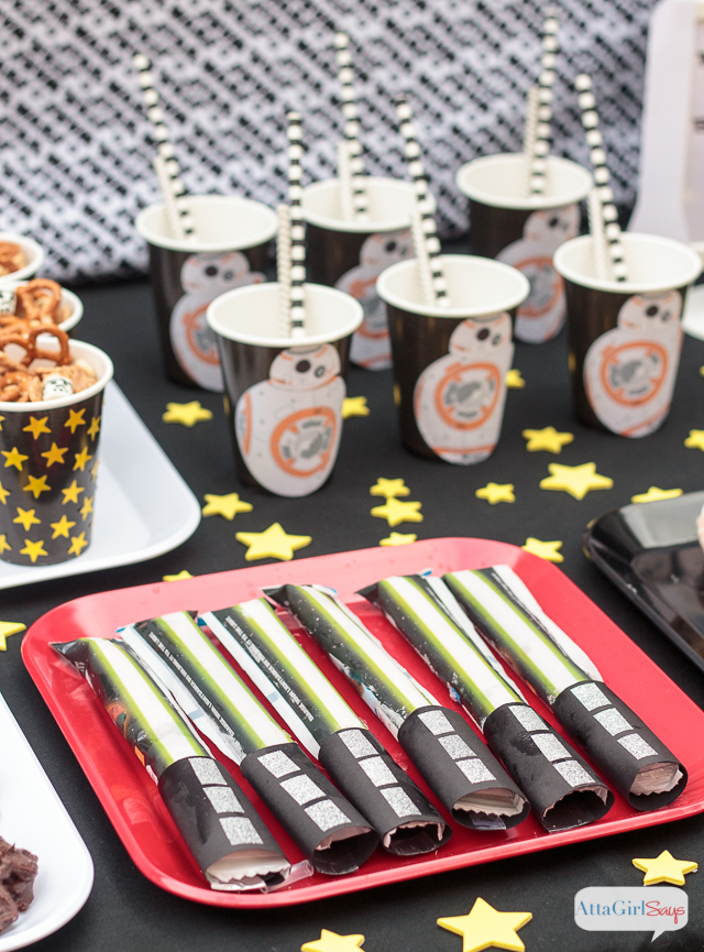 "Are you planning a Star Wars party to celebrate the premiere of ""The Force Awakens""? Or maybe you'll be going to one of the midnight screenings. Here are some great Star Wars snack ideas for breakfast. It would be so cool to set up a Star Wars breakfast bar for a kids' sleepover. #ad #awkenyourtastebuds"