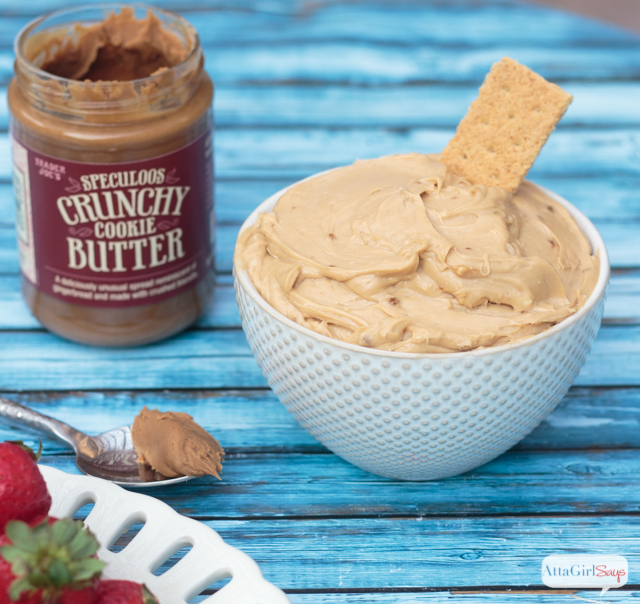 Have you tried the Speculoos Cookie Butter from Trader Joe's? This stuff leaves peanut butter and Nutella in the dust! While you might be tempted to eat it straight out of the jar, you'll find it's even better in recipes like this 4-ingredient cookie butter dip that also makes a great filling for a no-bake cookie butter cheesecake!
