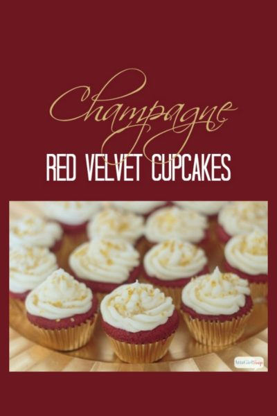 Champagne Red Velvet Cupcakes with Champagne Frosting
