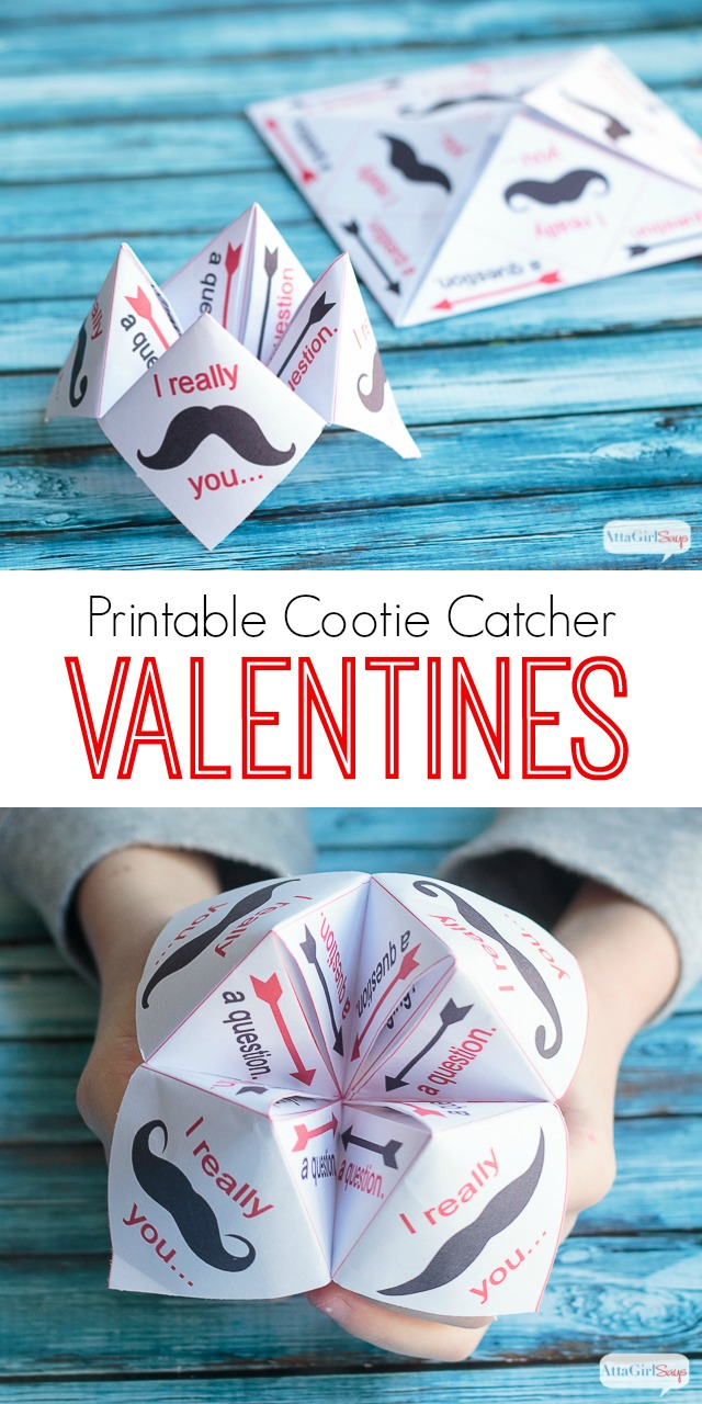 These free printable Valentine cards can be folded into a cootie catcher. These punny mustache cootie catchers would be perfect for classroom Valentines.