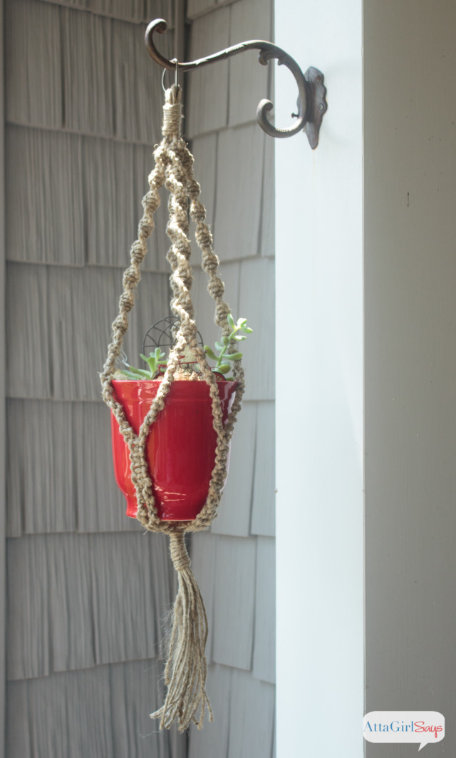with me and learn how to make a macrame plant hanger using jute twine