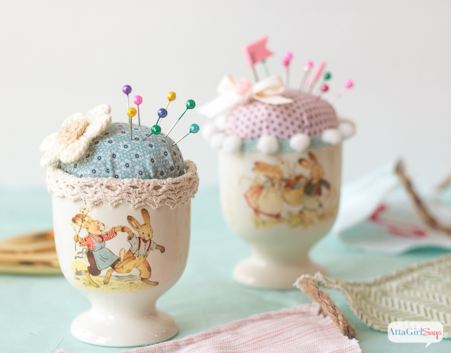 How cute is this? She turned an Easter egg cup into a pin cushion. This would be a great Easter gift for someone who sews.