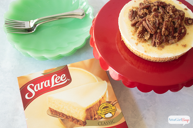 Dress up a Sara Lee Classic cream cheesecake with maple syrup and a mouth-watering pecan pie cheesecake topping. #ad #saraleedesserts #pmedia