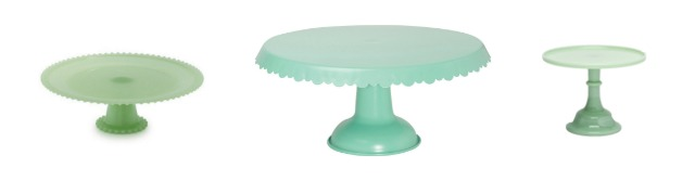 These vintage green stands are great for serving, parties and for decorating. Learn where to buy them, plus see more of pretty cake stands at AttaGirlSays.com.
