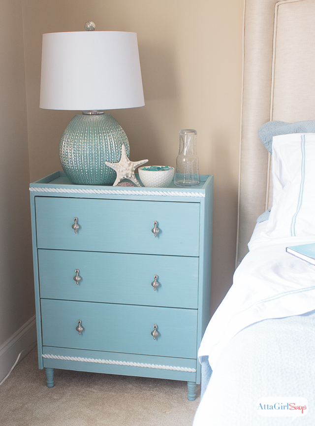 For years, I searched for the perfect nightstands for our guest bedroom. When I couldn't find the sophisticated coastal ones look I was going for in our budget, I made my own using a $35 pine dresser from Ikea. Anybody can do this simple Ikea RAST hack. Click for step-by-step instructions #hickoryhardware #sponsored #Ikeahack