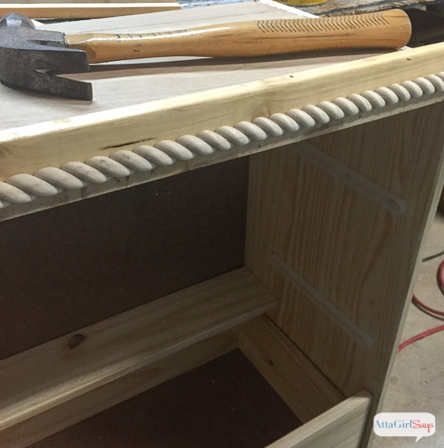 Add rope trim molding to give a plain dresser character. You can see more of this easy Ikea RAST hack by clicking. #hickoryhardware #sponsored #ikeahack