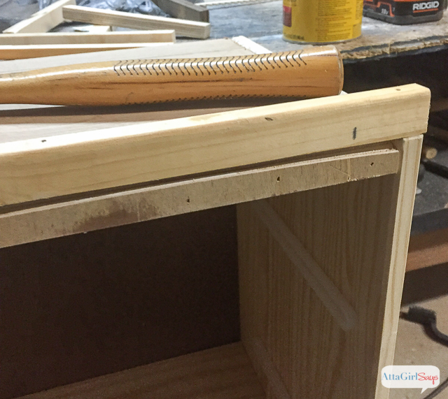 For this Ikea Rast Hack, I adding simple trim molding to the top of the nightstand to create a faux tray. Click to see the full transformation. #hickoryhardware #ikeahack #sponsored