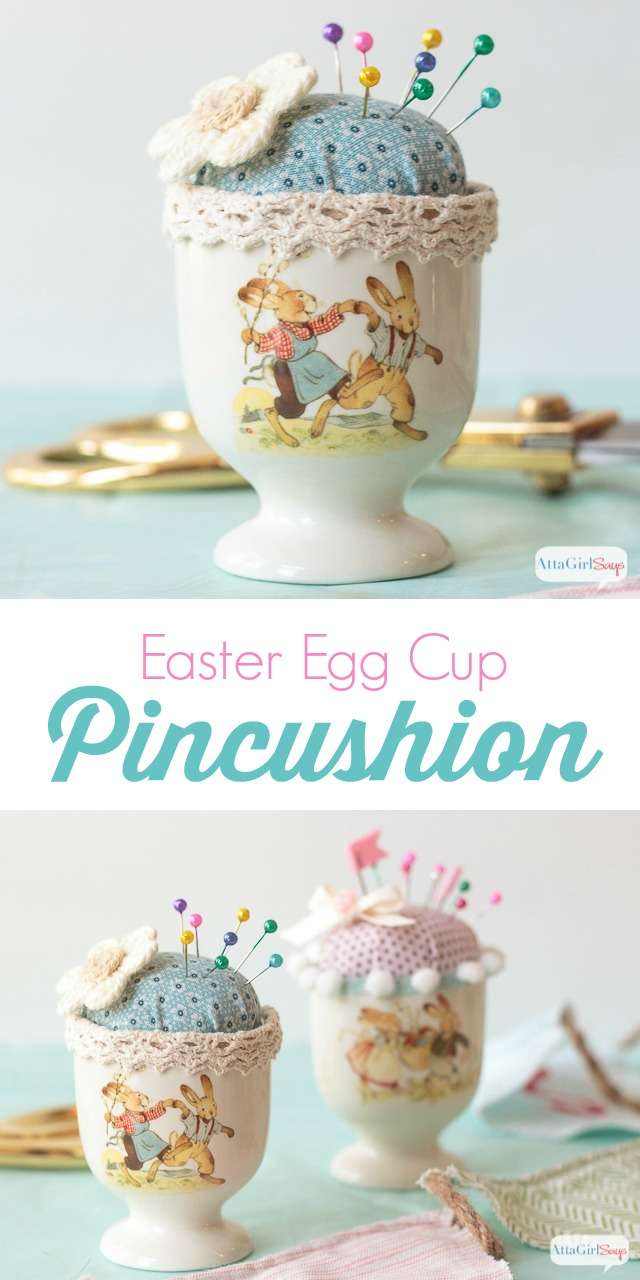 collage image showing easter egg cup pincushions