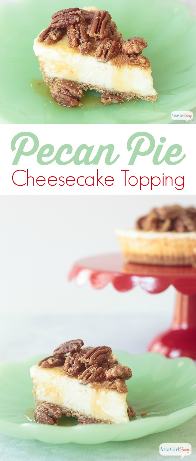 This pecan pie cheesecake topping is so easy to make, and it's a great way to dress up a Sara Lee cheesecake. Just a few ingredients and a few minutes in the kitchen, and no one will know the cheesecake isn't homemade. #ad #saraleedesserts #pmedia