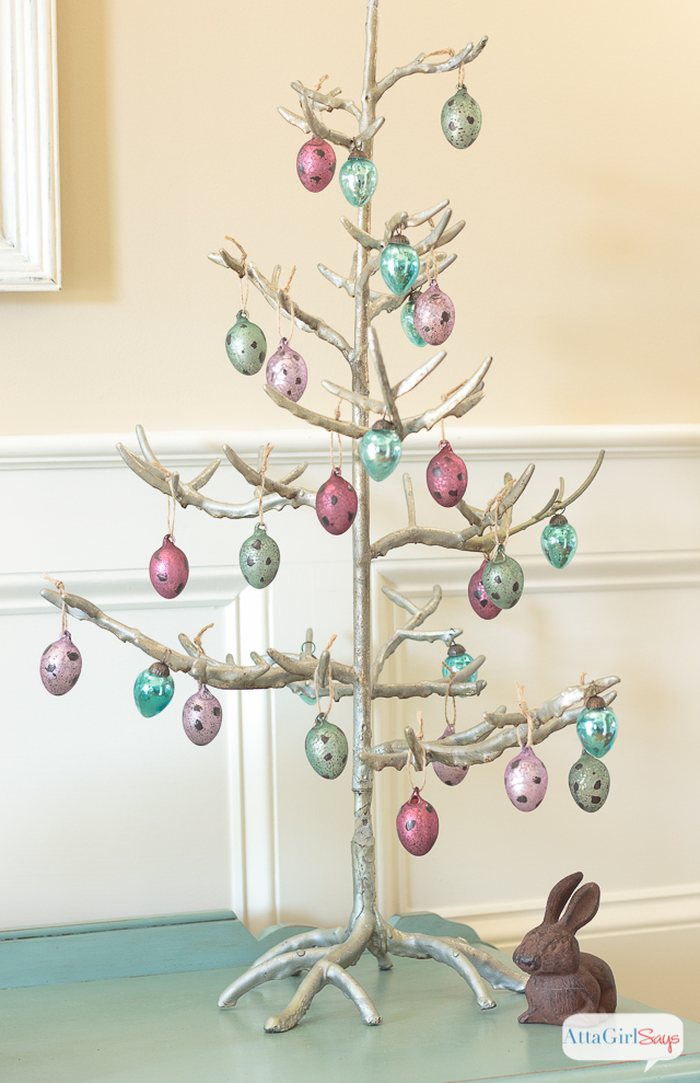 A pretty silver Easter tree decorated with mercury glass Easter eggs.